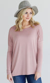 Basic Piko 1988 Dark Heather Grey Bamboo Piko Comfy Boat Neck Long Sleeve Slouchy Knit Tee Shirt Top