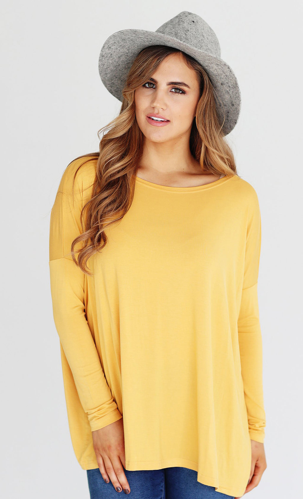 Basic Piko 1988 Mustard Golden Yellow Bamboo Piko Comfy Boat Neck Long Sleeve Slouchy Knit Tee Shirt Top