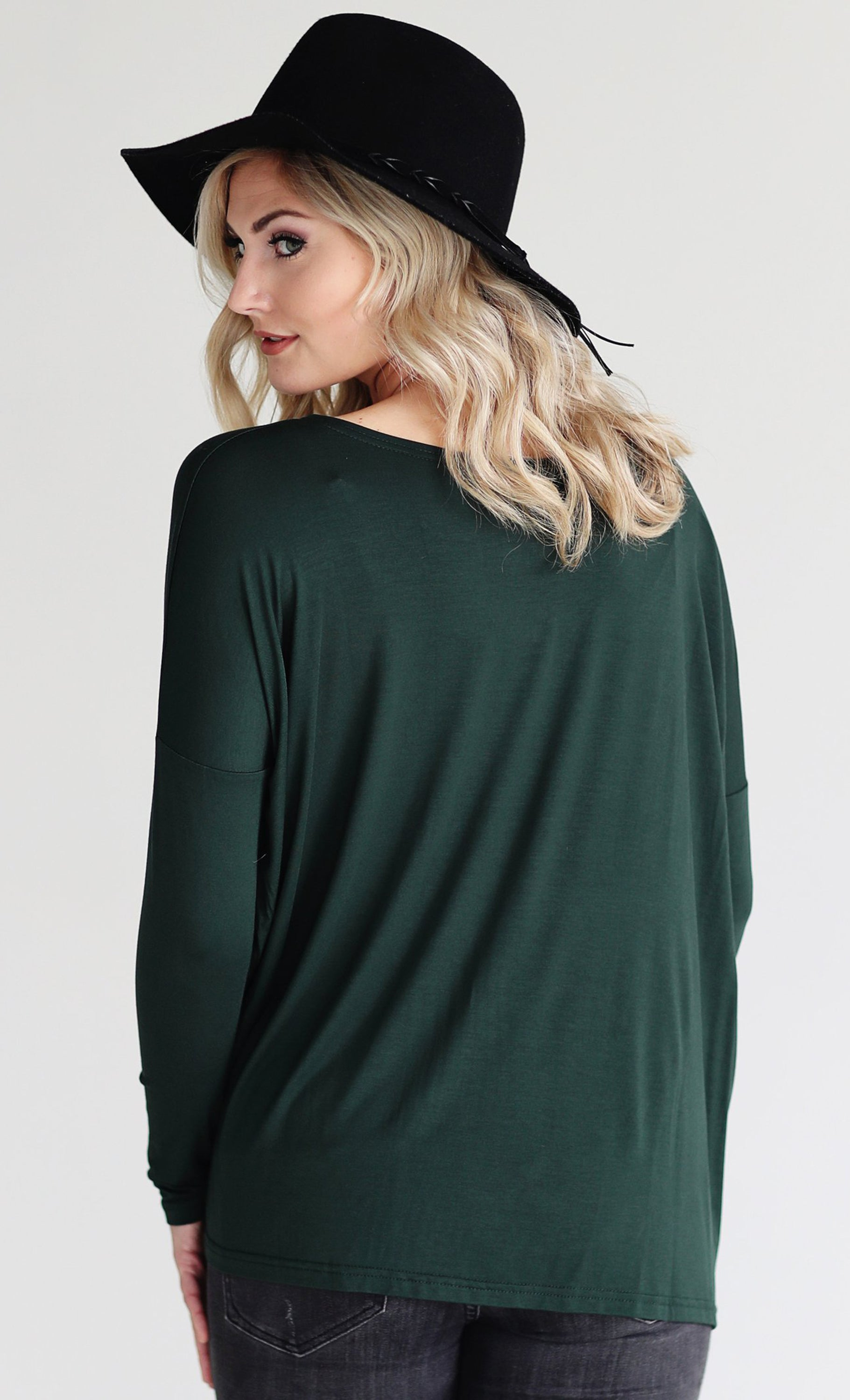 Basic Piko 1988 Forest Holiday Green Bamboo Piko Comfy Boat Neck Long Sleeve Slouchy Knit Tee Shirt Top