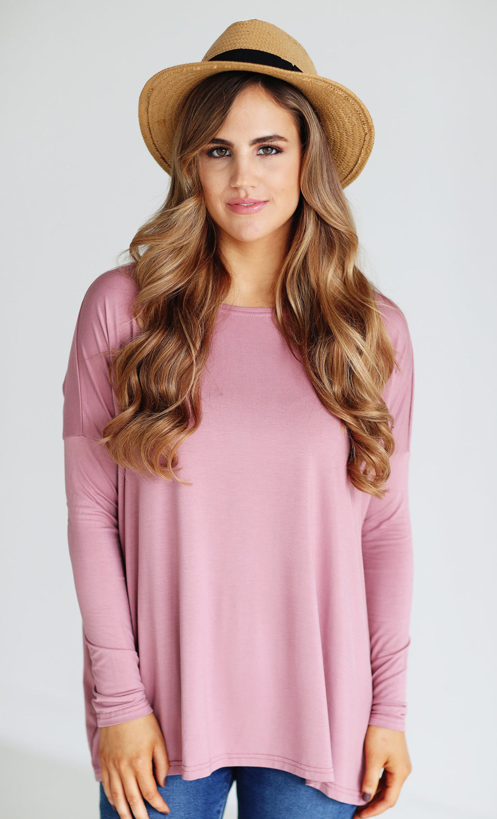 Basic Piko 1988 Rose Pink Bamboo Piko Comfy Boat Neck Long Sleeve Slouchy Knit Tee Shirt Top