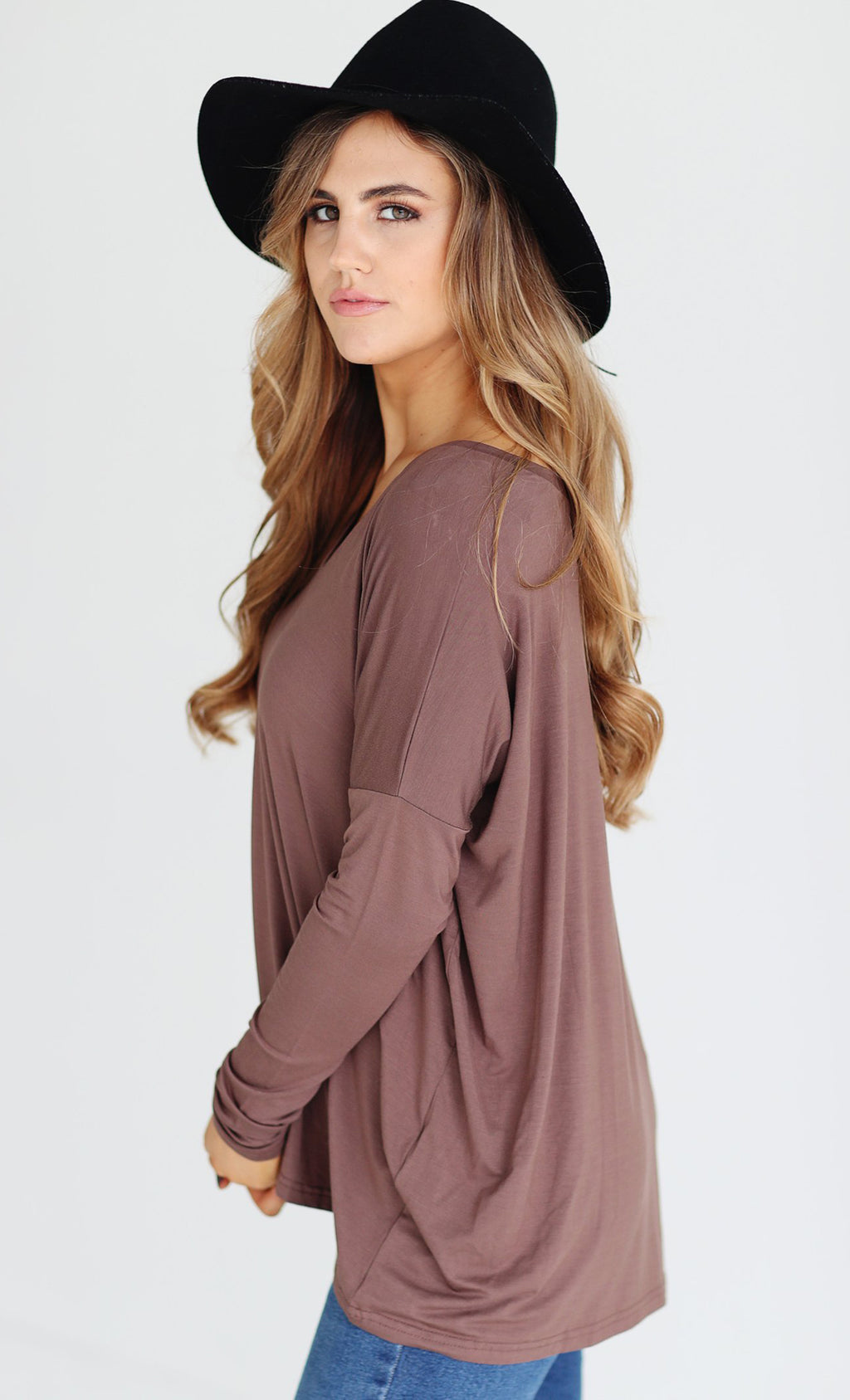 Piko 1988 Cocoa Medium Brown Long Dolman Sleeve V Neck Piko Bamboo Basic Loose Tunic Tee Top