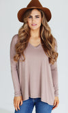 Basic Piko 1988 Mauve Light Purple Bamboo Piko Comfy Boat Neck Long Sleeve Slouchy Knit Tee Shirt Top