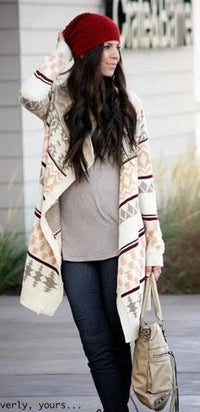 Taupe Peach Ivory Aztec Navajo Tribal Knit Open Striped Cardigan Sweater - Out of Stock