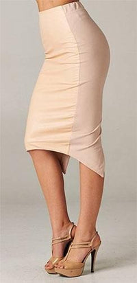 Sexy Taupe Faux Leather Front Stretchy Wrap Back Asymmetric Hem Pencil Skirt - Sold Out