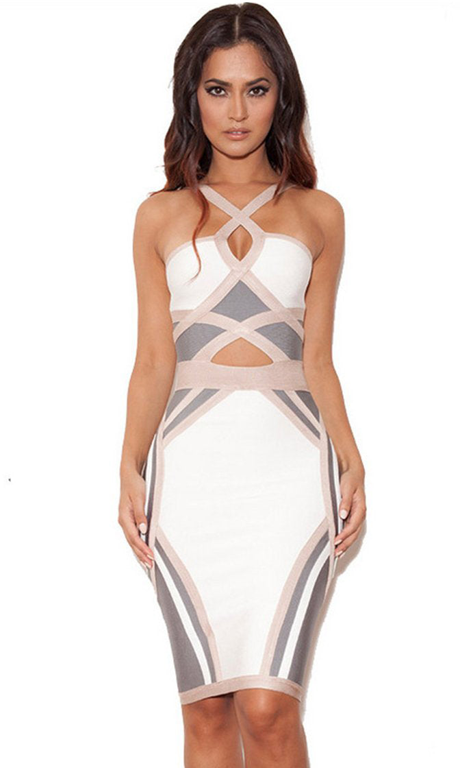 If You Could See Me Now White Grey Beige Colorblock Sleeveless Cut Out Halter Bandage Bodycon Mini Dress