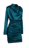 Thank You, Next Green Satin Faux Silk Long Sleeve Drape Cowl Neck Mock Neck Ruched Mini Dress