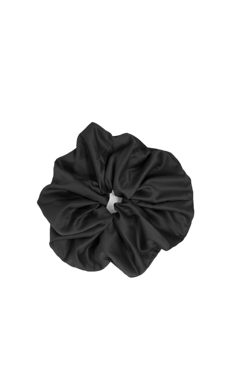 Super Size Me Black Oversized Pure 100% Silk Handmade Scrunchie Soft Luxury Spa Hair Tie