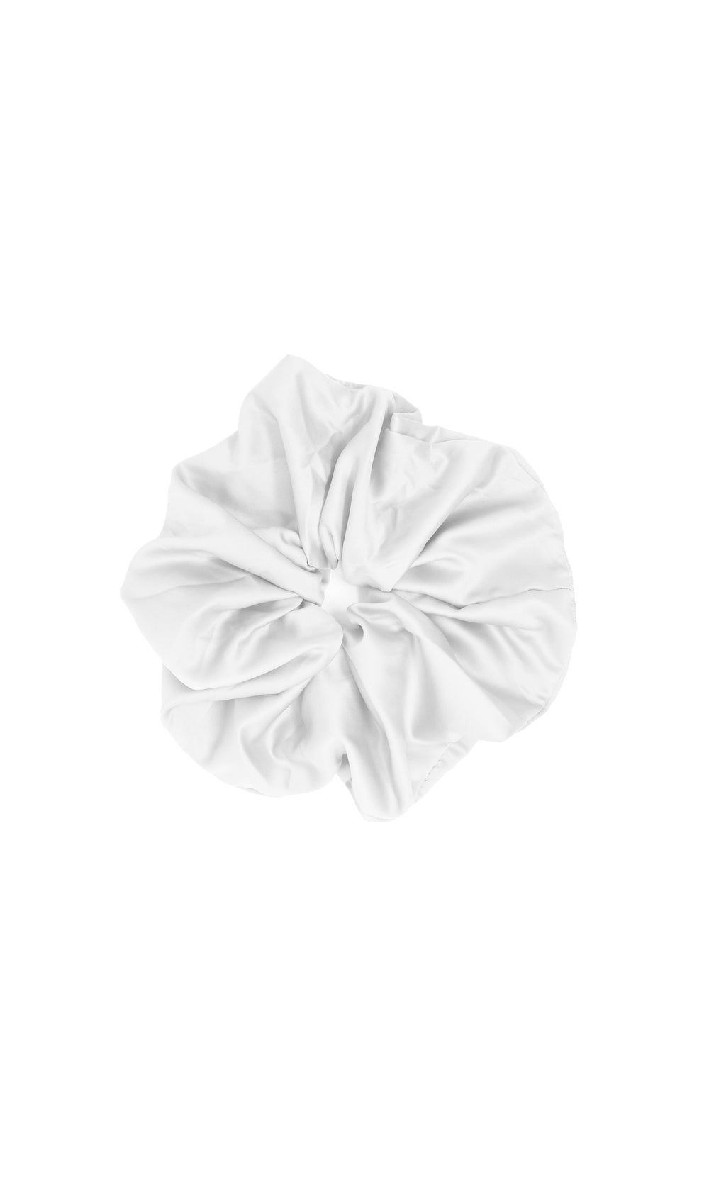 Super Size Me White Oversized Pure 100% Silk Handmade Scrunchie Soft Luxury Spa Hair Tie