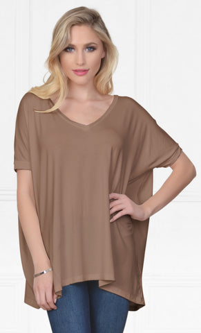 Piko 1988 Mocha Brown Bamboo Piko Comfy Boat Neck Long Sleeve Slouchy Basic Knit Tee Shirt Top