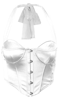 Sweet Idea White Satin Sleeveless Bustier Halter Crop Top Blouse