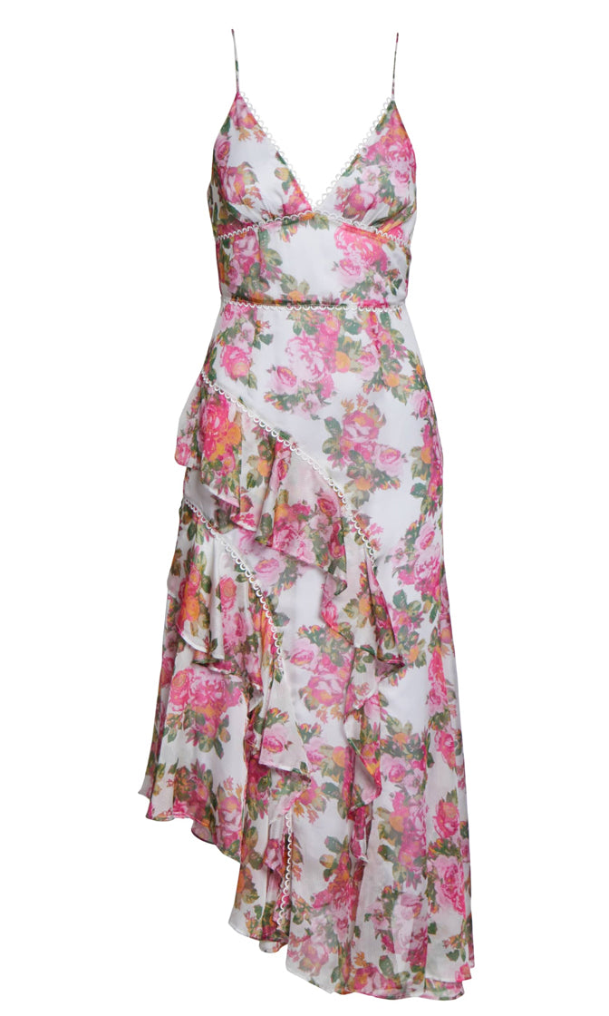 Trouble In Paradise Floral Pattern White Pink Sleeveless Spaghetti Strap V Neck Ruffle Asymmetric Casual Midi Dress