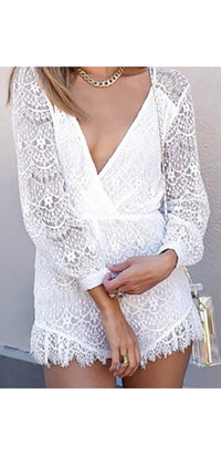 White Crochet Lace Plunging Deep V Neck Long Cuffed Sleeve Scalloped Hem Romper - Sold Out