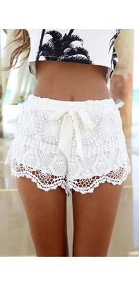 White Semi Sheer Crochet Floral Lace Bow Tie Waist Scalloped Shorts - Sold Out