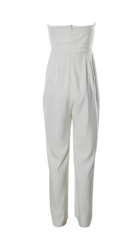 Good For You White Sleeveless Strapless Deep V Plunging Neck Fitted Full Wide Ankle Length Pants Jumpsuit - Inspired by Selena Gomez - Sold Out