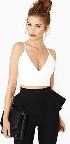 Olivaceous White Faux Leather Plunge V Crop Top Open Bustier Bra Sleeveless! - Sold Out