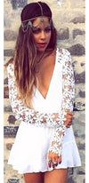 White Plunging V Neck Floral Lace Long Sleeve Ruffled Romper - Sold Out