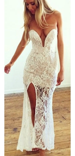 Intruige Me White Semi Sheer Floral Lace Plunging Deep Strapless Sweetheart Neck Slit  Maxi Dress - Sold Out
