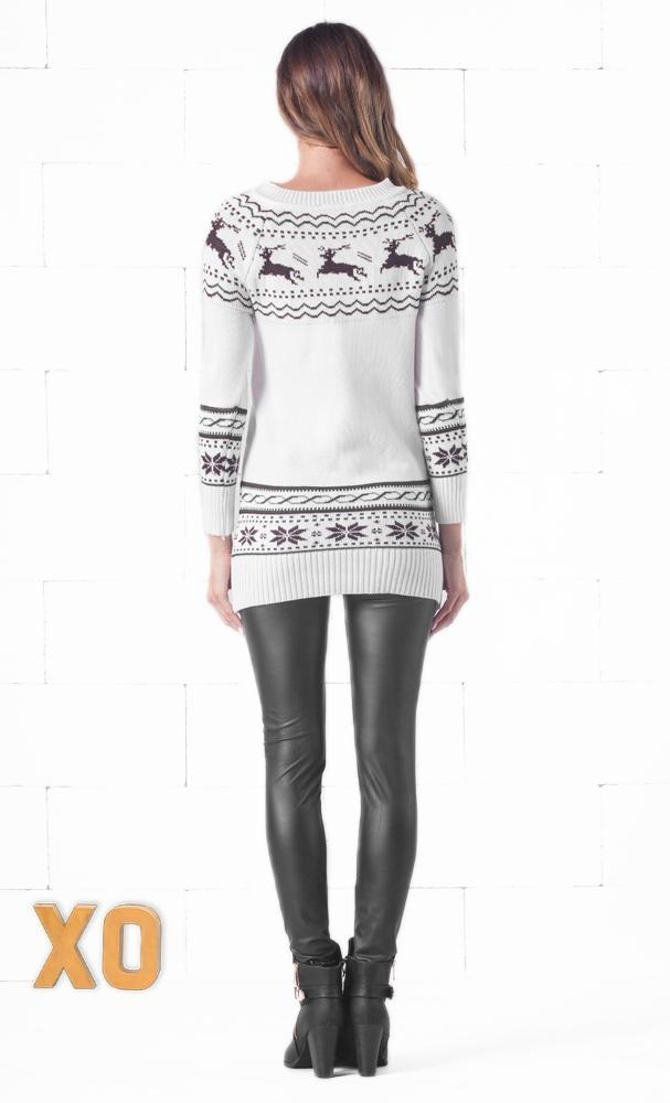 Indie XO White Christmas White Black Fair Isle Winter Long Sleeve Cozy Knitted Christmas Sweater Mini Dress - Just Ours! - Sold Out