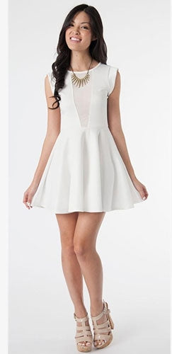 3ebb6eae8db7 Sexy White Mesh Front Cut Out Sheer Open Back Skater Dress Short Sleeve -  Sold Out