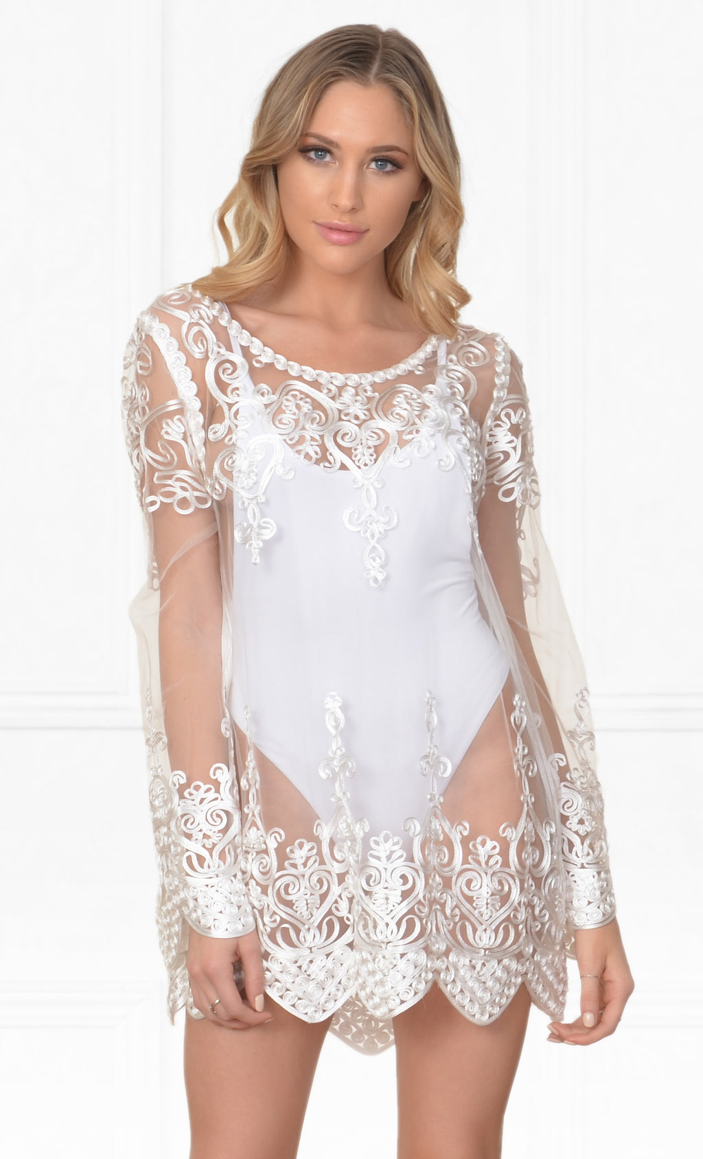 Life's A Beach White Embroidered Sheer Mesh Lace Long Sleeve Scallop Hem Blouse Beach Cover Up Top