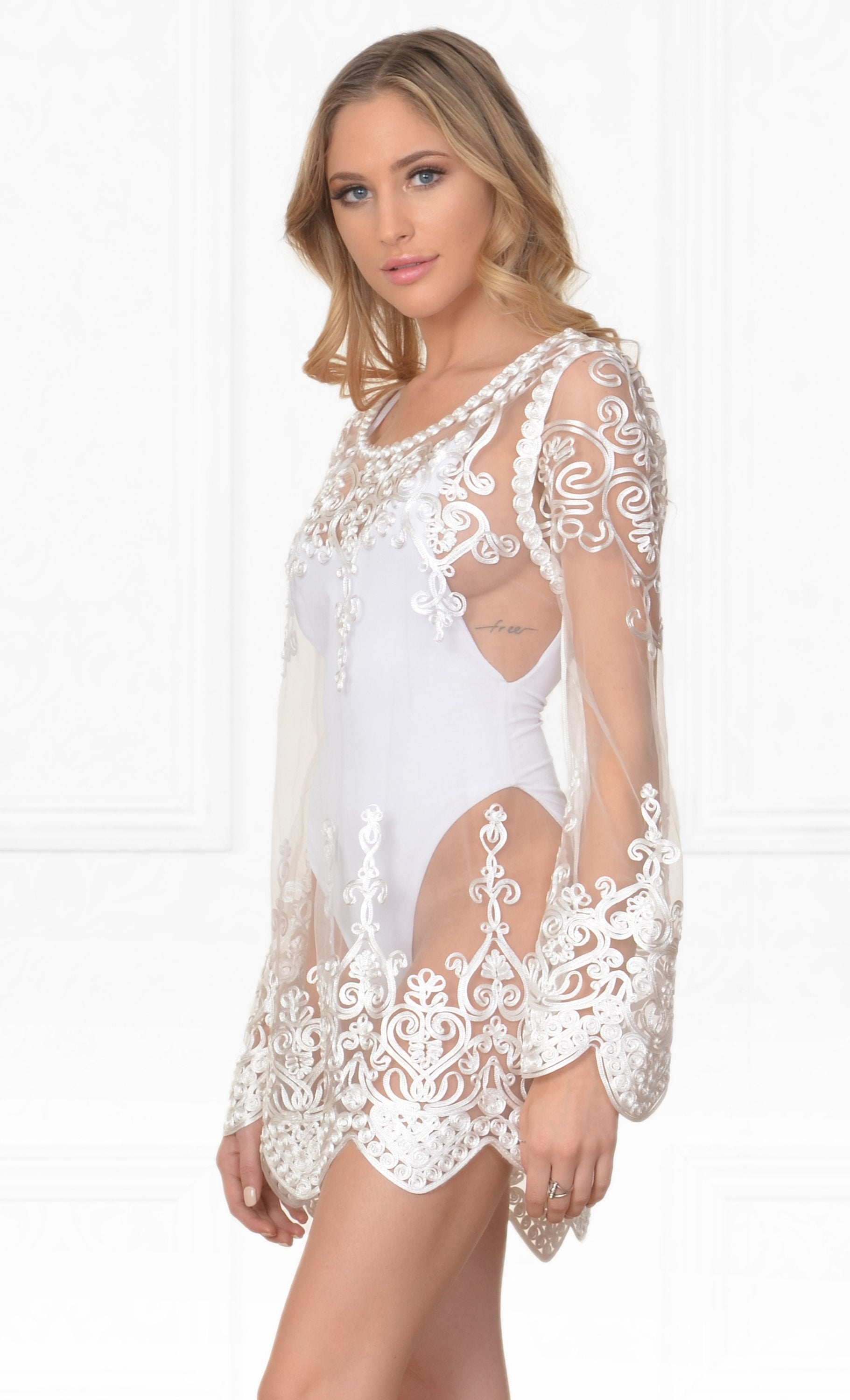 ce9497beb8a Life s A Beach White Embroidered Sheer Mesh Lace Long Sleeve Scallop Hem  Blouse Beach Cover Up
