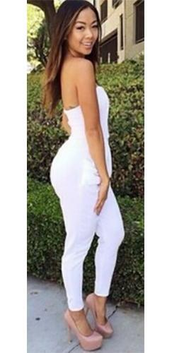 Plunging Sweetheart Neck Sleeveless Side Pocket Pants Jumpsuit - Almost Gone!  -  Sold Out