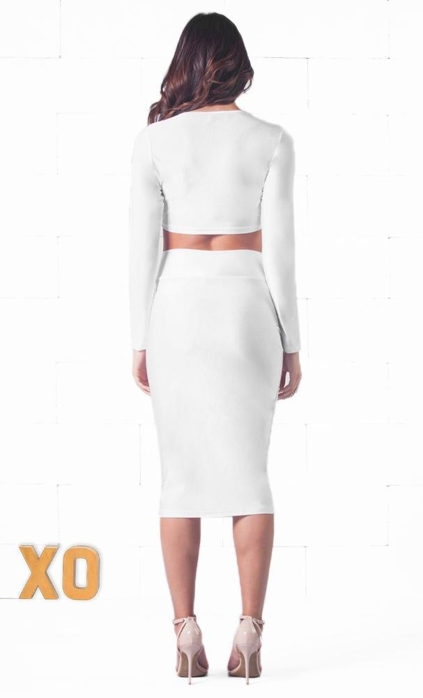 Indie XO Lasting Impression White Long Sleeve Scoop Crop Top High Waisted Pencil Midi Skirt Set - Just Ours! - Sold Out