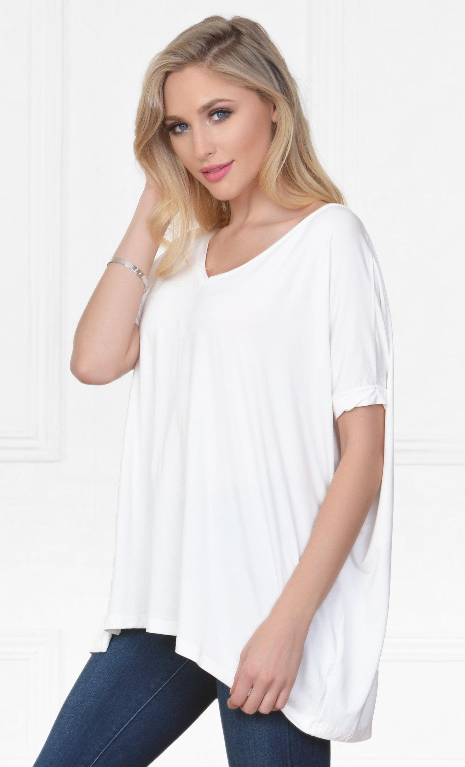 Piko 1988 Bamboo White Short Dolman Sleeve V Neck Piko Bamboo Basic Loose Tunic Tee Top