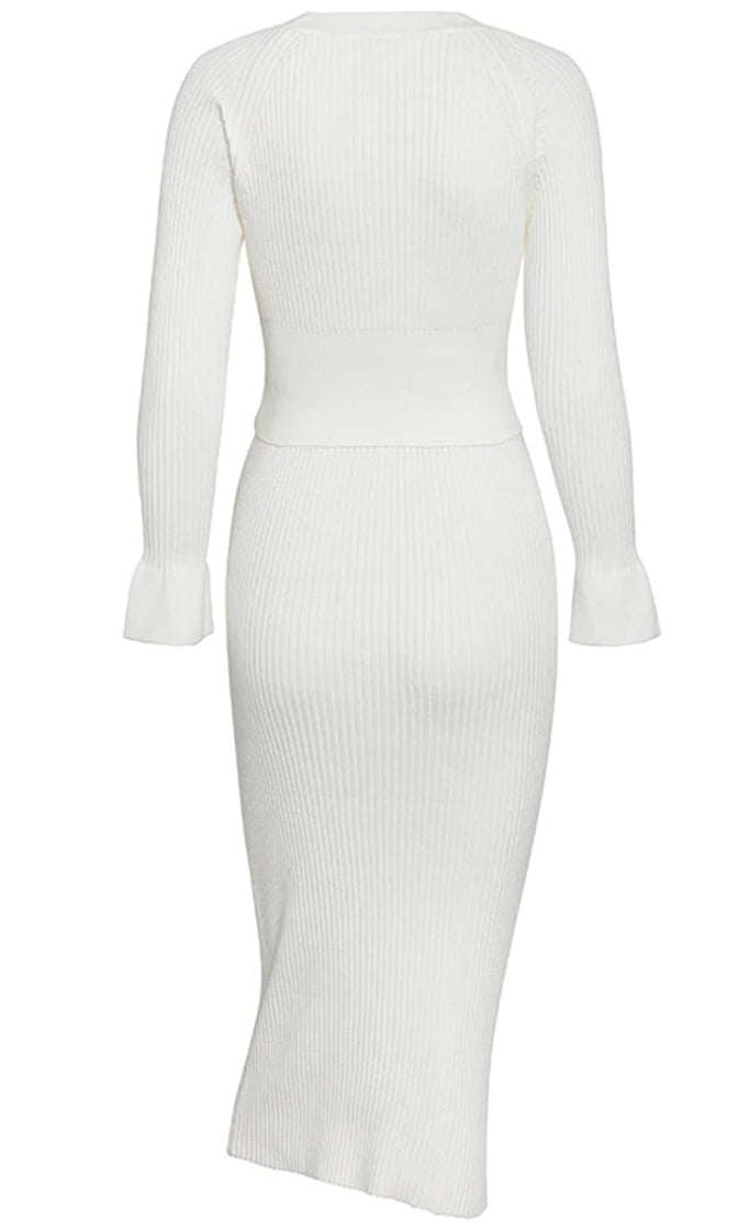 City Style Ribbed Long Sleeve Round Neck Sweater Bodycon Midi Skirt Two Piece Dress