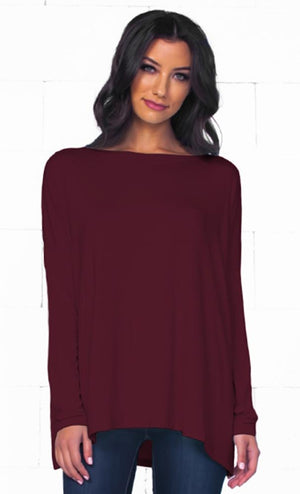 Piko 1988 Burgundy Wine Bamboo Piko Comfy Boat Neck Long Sleeve Slouchy Basic Knit Tee Shirt Top