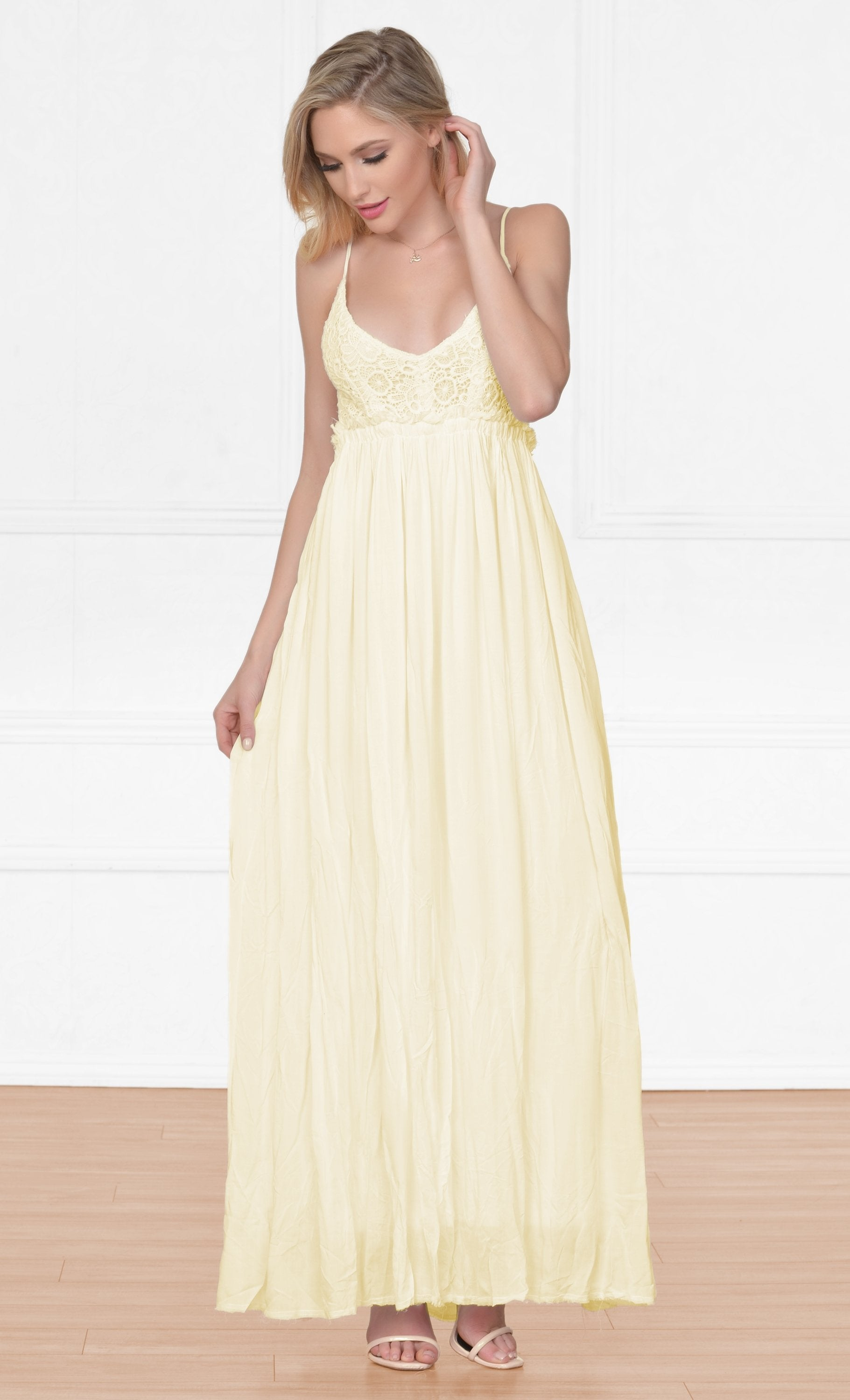 Indie XO Gentle Breeze Pastel Yellow Crochet V Neck Sleeveless Top Full Length Flowy Wrinkle Accent Maxi Dress - Sold Out