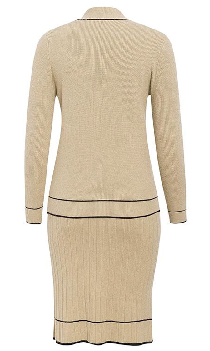 Over And Over Long Sleeve V Neck Pullover Contrast Trim Rib Knit Midi Two Piece Sweater Dress - 3 Colors Available