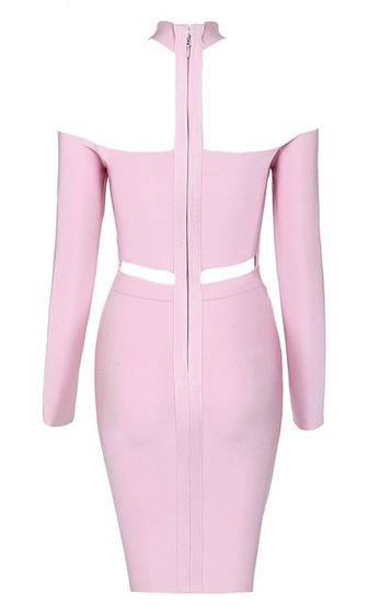 Good Life Light Pink Long Sleeve Mock Neck Off The Shoulder Cut Out Waist Bodycon Bandage Mini Dress