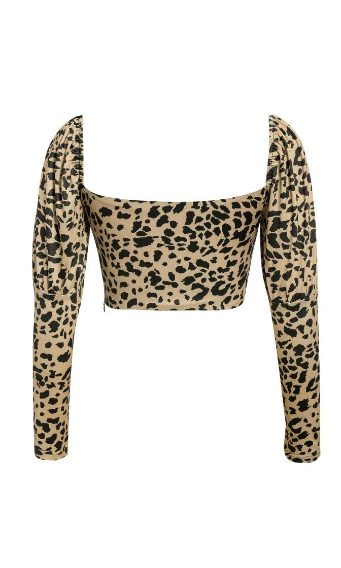 Top Down Animal Pattern Long Sleeve Puff Shoulder Sweetheart Neckline Crop Top - 3 Colors Available