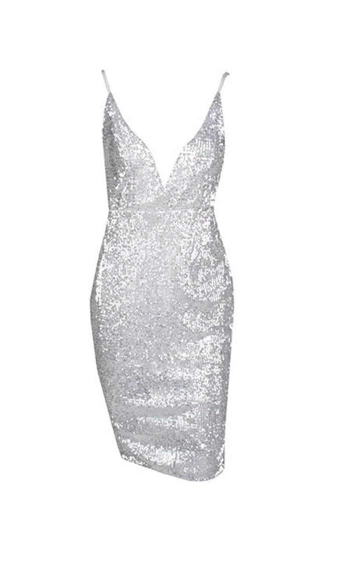 2d7e78ea49 Glamour Addict Silver Sequin Sleeveless Spaghetti Strap Plunge V Backless  Bodycon Mini Dress - Sold Out