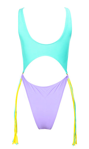 Point Of No Return Sleeveless Scoop Neck Cut Out Waist Tassel Fringe Brazilian One Piece Monokini Swimsuit
