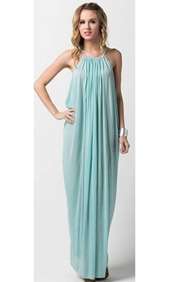 Breezy Goddess Sheer Beach Cover Up Aqua Blue Spaghetti Strap Halter Loose Draped Pleated Open Side Maxi Dress - Sold Out