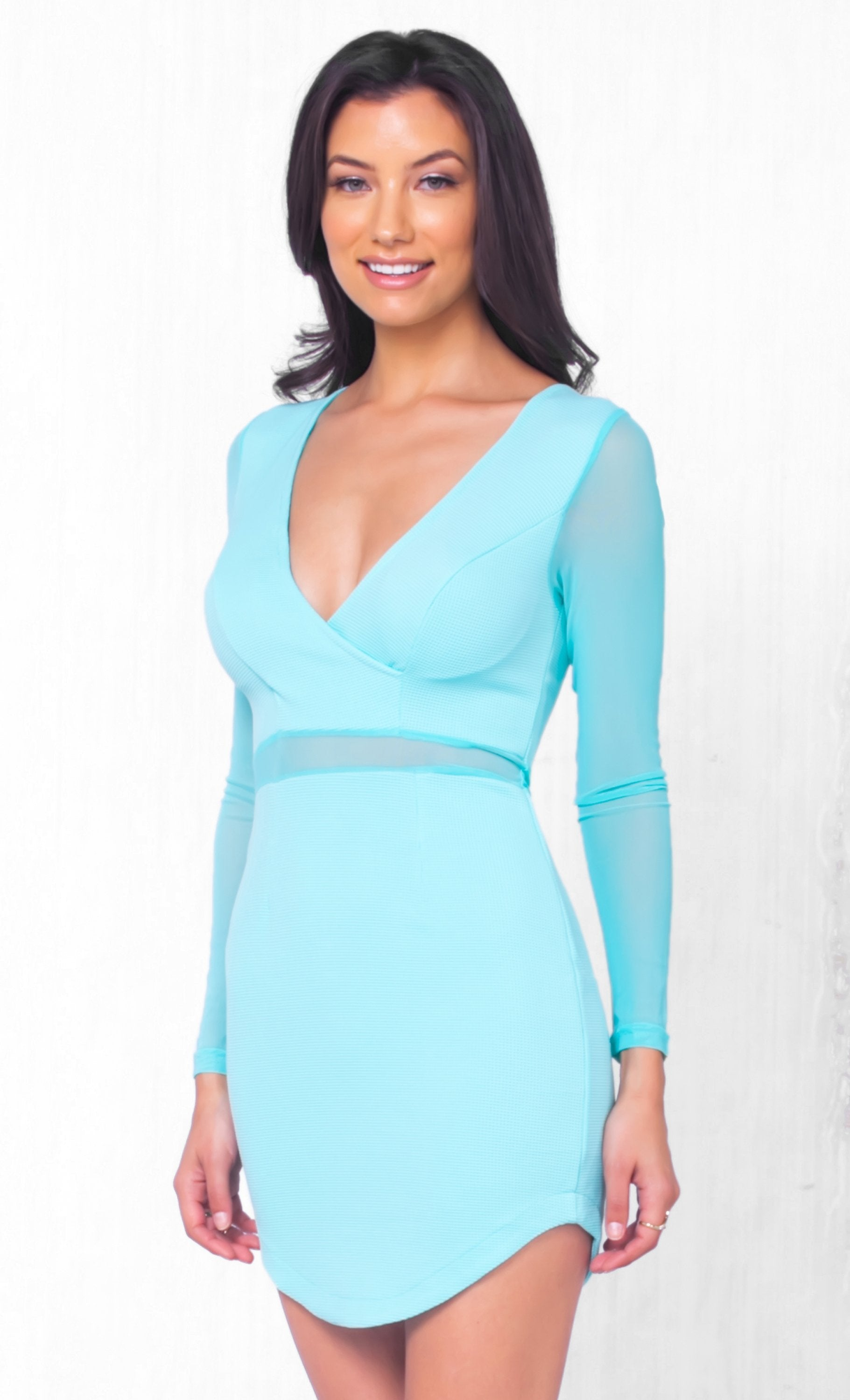 Indie XO Perfect Mesh Aqua Blue Black Sheer Mesh Accent Long Sleeve Cross Wrap V Neck Bodycon Mini Dress - Just Ours! - Sold Out