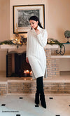 Snow Bunny Burgundy Wine Red Long Sleeve Turtleneck Cable Knit Pocket Midi Sweater Dress