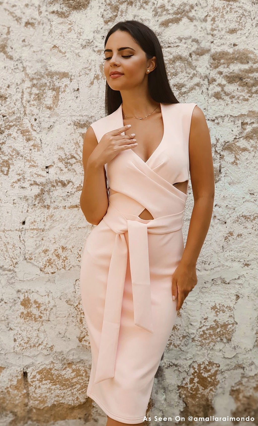 Have Your Cake Sleeveless Pink Cross Wrap V Neck Cut Out Tie Waist Bodycon Jersey Midi Dress