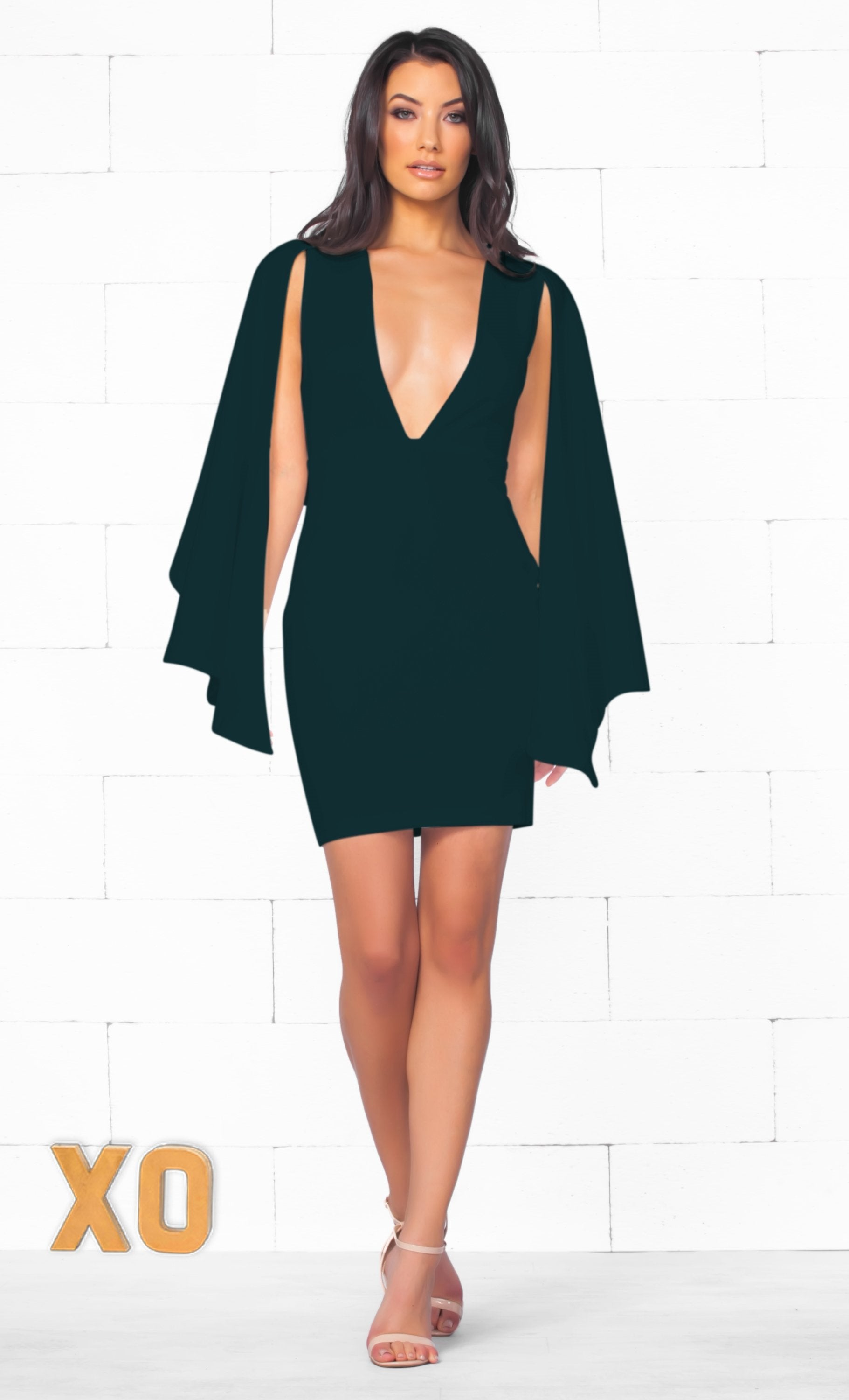Indie XO Simply Irresistible Forest Dark Green Long Split Sleeve Deep V Neck Bodycon Cape Mini Dress - Just Ours - Sold Out