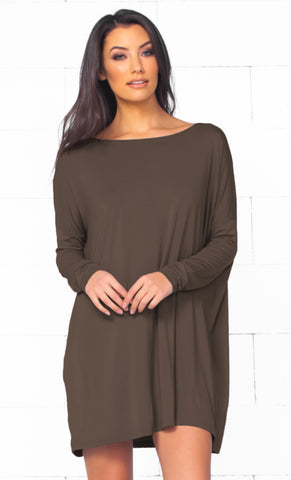 Piko 1988 Taupe Brown Long Sleeve Scoop Neck Piko Bamboo Oversized Basic Tunic Tee Shirt Mini Dress