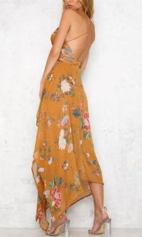 Summer Lover Floral Spaghetti Strap Plunge V Neck X Back Handkerchief Asymmetric Hem Maxi Dress - Sold Out