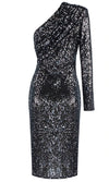 Meet The Moment Sequin One Shoulder Pad Long Sleeve Ruched Midi Bodycon Dress - 3 Colors Available