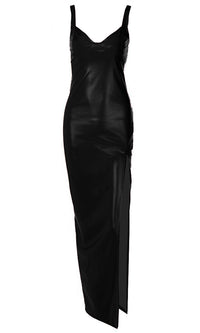 Bombshell Beauty PU Faux Leather Sleeveless Spaghetti Strap V Neck Side Slit Bodycon Maxi Dress