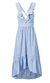 Dockside Diva Blue Stripe Pattern Sleeveless Ruffle V Neck High Low Casual Maxi Dress
