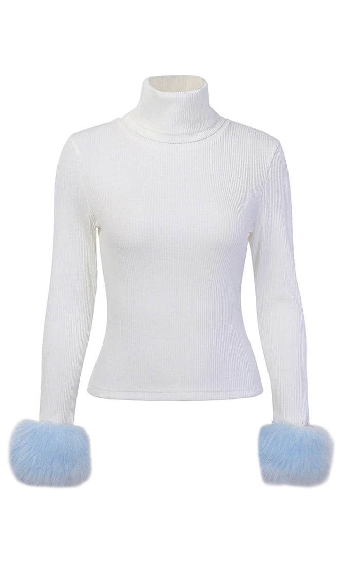 Don't Call Me Angel Long Sleeve Faux Fur Cuff Rib Knit Turtleneck Pullover Sweater - 2 Colors Available