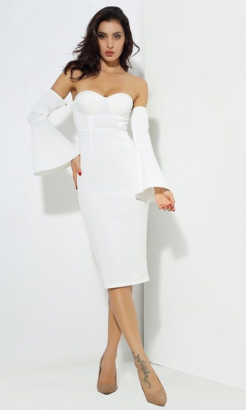 Pour On The Charm White Long Bell Sleeve Off The Shoulder Bustier Bodycon Midi Dress