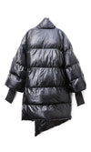 Armored Up Black Long Sleeve Down Quilted Oversized Ribbon Trim Asymmetric Puffy Winter Coat Outerwear