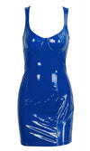Candy Coated Blue PU Faux Leather Vinyl Sleeveless V Neck Stretch Vinyl Bodycon Mini Dress - 4 Colors Available